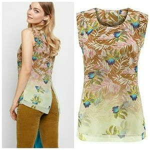 CAbi Tropical Orchard Sleeveless Blouse Size S